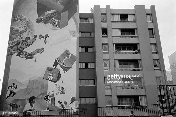 """Stained concrete slabs and high-rise blocks in the """"Cite des 3000"""" in Aulnay-sous-Bois, France in October, 1984."""