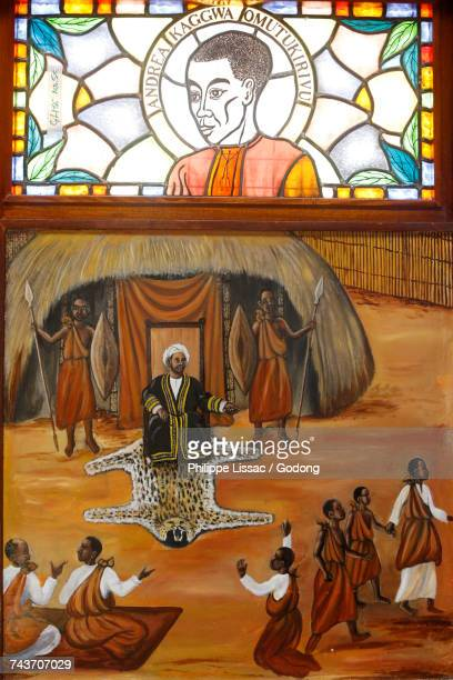 stained glass and painting in namugongo catholic martyrs shrine church, kampala. uganda. - martyrs of uganda catholic church stock pictures, royalty-free photos & images