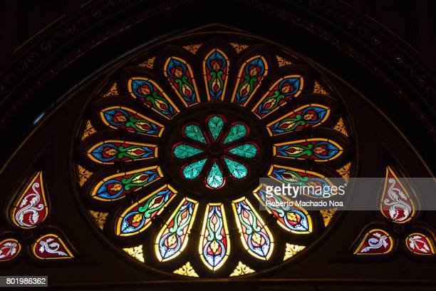 Stained glass at Montreal's Notre Dame basilica Catholic church Window stained glass skylight Beautiful colors and architecture of the famous place...