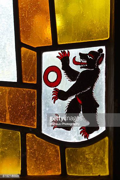 Stained glass bear as a Swiss symbol