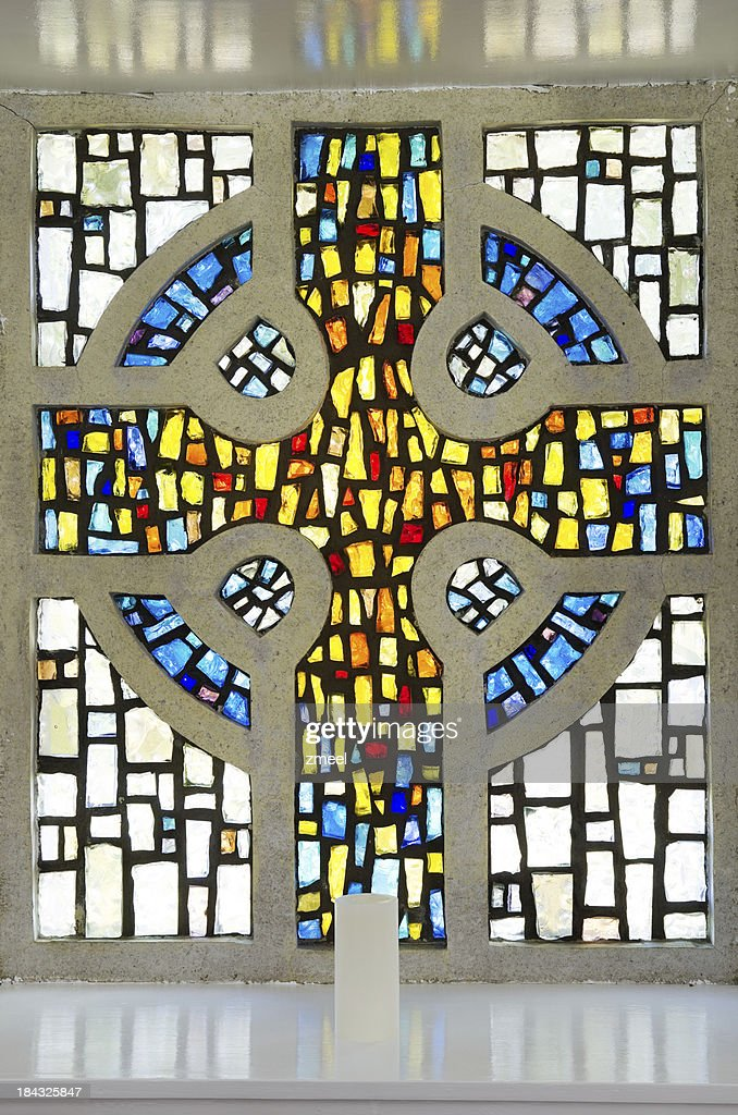 Stained glass Celtic cross : Stock Photo
