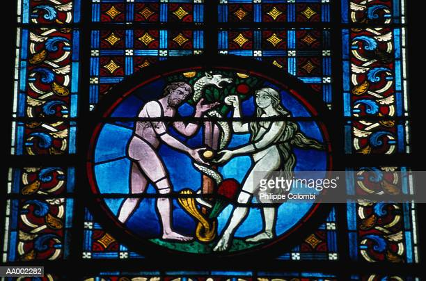 Stained Glass Depicting Adam and Eve