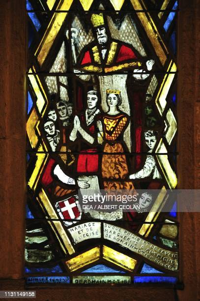Stained glass depicting the marriage between Albert of Savoy and Margaret of Austria , Romainmotier Abbey, Canton of Vaud, Switzerland.