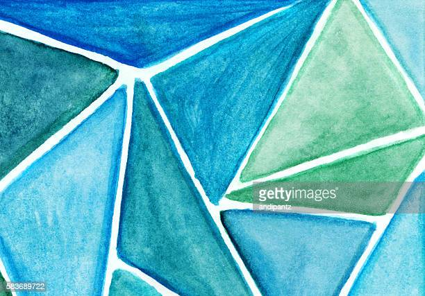 Stained glass effect painting with shades of blue triangles