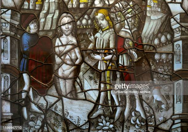 Stained glass from Cloister of the Cistercian Monastery Altenberg Cologne Germany 1465 The Healing of Naaman in Jordan He was healed of leprosy...