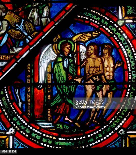Stained glass from Sens Cathedral France Shows the expulsion of Adam and Eve from the Garden of Eden 13th century