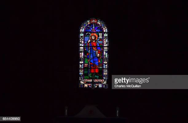 A stained glass image of Saint Patrick can be seen as the service and pilgrimage to celebrate Saint Patrick takes place at Saul Church on March 17...