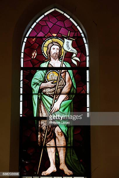 Stained glass in a catholic church : Saint John the Baptist