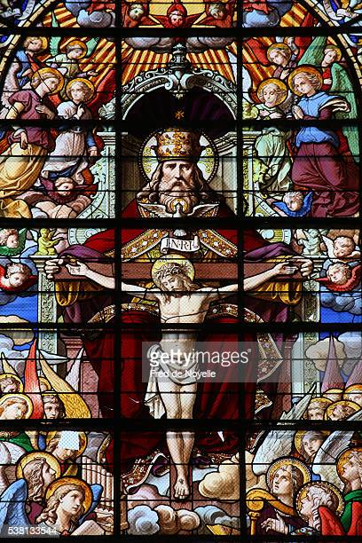 stained glass in holy trinity abbey - holy trinity stock pictures, royalty-free photos & images