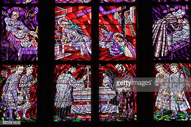 Stained glass in St Vitus Cathedral interior is seen on 2 May 2012 in Prague Czech Republic capital