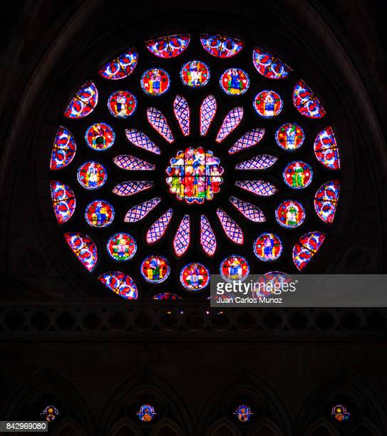 Stained glass in the cathedral of Santa María de León, Leon city, Leon province, Castilla y Leon, Spain, Europe
