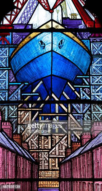 Stained glass of ship being built