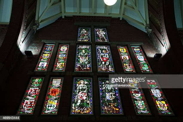 stained glass of station maastricht - stained glass stock pictures, royalty-free photos & images