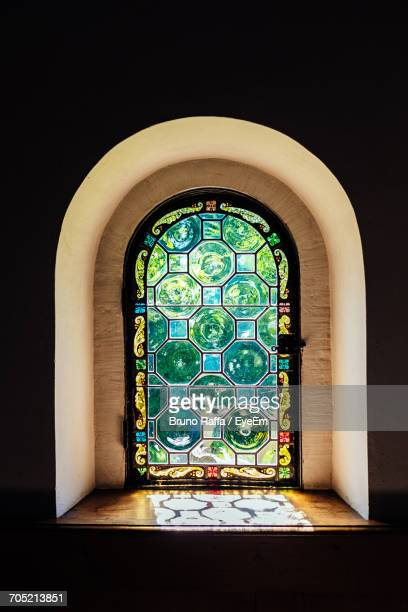 Stained Glass On Arch Window In Chapel