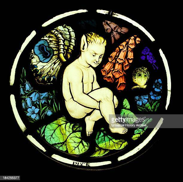 Stained glass panel by Florence Camm Depicting characters based off of those in A Midsummer Night's Dream Circa 1900