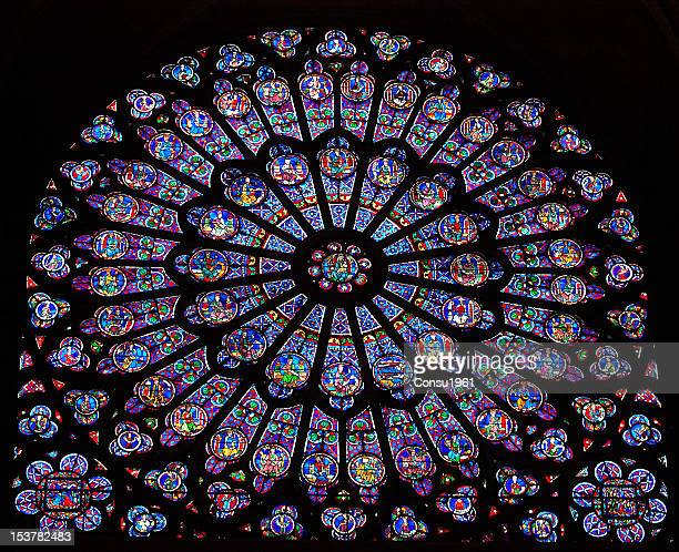 stained glass - notre dame de paris stock photos and pictures