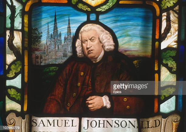 A stained glass portrait of Dr Samuel Johnson in 17 Gough Square London Inns court circa 1989 It was here that Johnson and six clerks worked to...