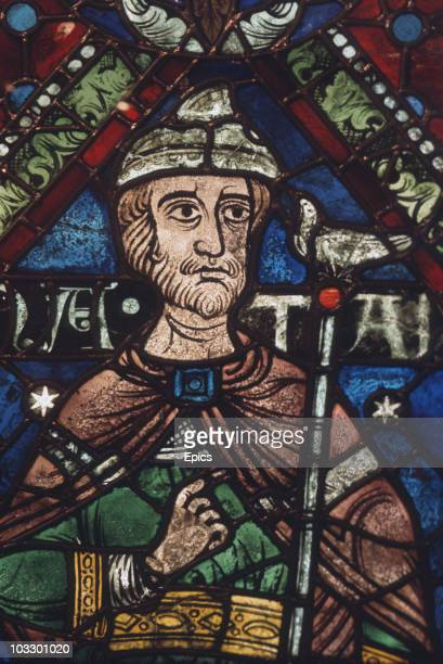 A stained glass portrait of Nathan one of 43 surviving panels of the Ancestors of Christ dating from the late 12th century and originally placed in...