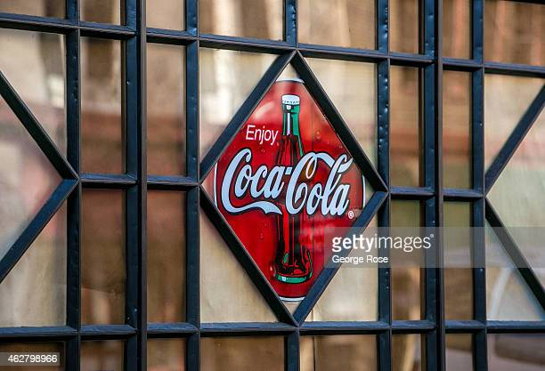 A stained glass rendition of the Coca Cola logo adorns the side of a building as viewed on January 27 in Sacramento California Sacramento is the...