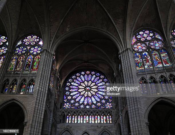 Stained glass rose window, Paris France