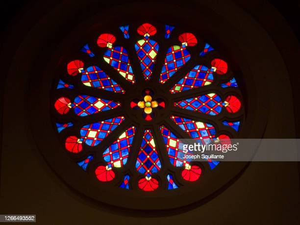 stained glass rose window - joseph squillante stock pictures, royalty-free photos & images