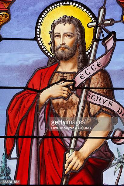 stained glass : st john the baptist. - john the baptist stock photos and pictures