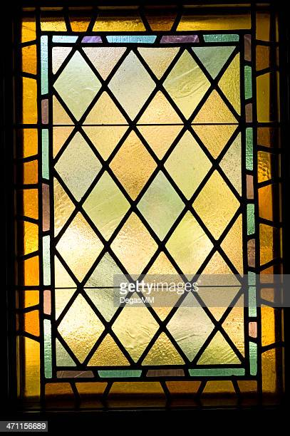 stained glass window architectual detail - stained glass stock photos and pictures