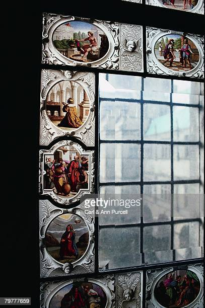 stained glass window at frederiksborg castle - frederiksborg castle stock pictures, royalty-free photos & images