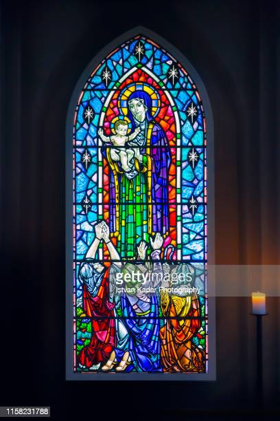 stained glass window at hallgrimskirkja church, reykjavik, iceland - stained glass stock pictures, royalty-free photos & images