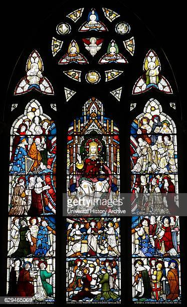 Stained glass window at St Michael and All Angels Anglican church in Hughenden Buckinghamshire England The window depicts Christ enthroned Hughenden...