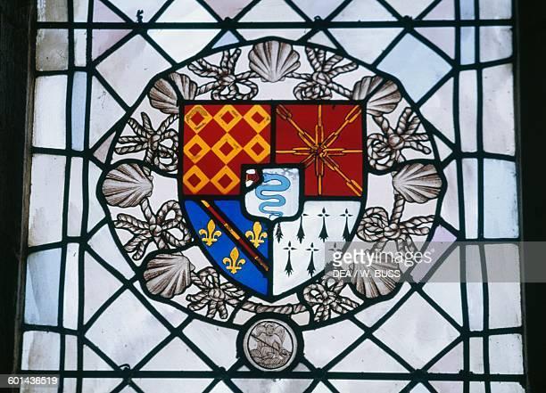 Stained glass window bearing the coat of arms Chateau de la MotteGlain Pays de la Loire France 15th17th century
