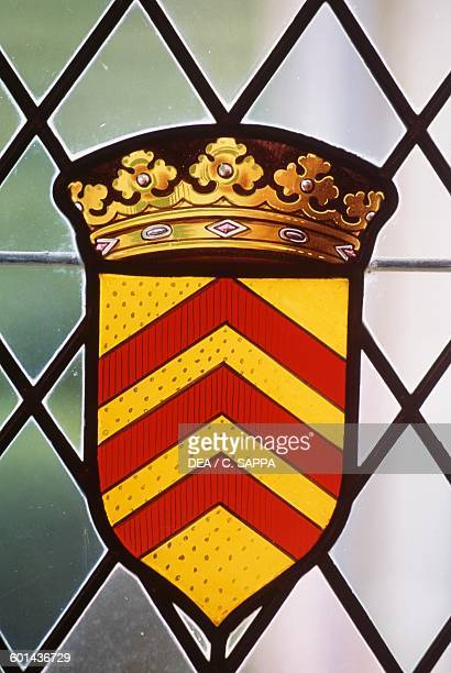 Stained glass window bearing the coat of arms of Chateau de Marqueyssac Vezac Aquitaine France 15th17th century