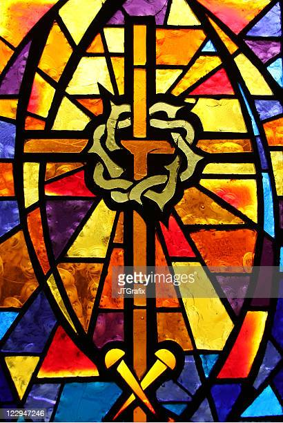 stained glass window - crown of thorns/easter theme - the crucifixion stock pictures, royalty-free photos & images