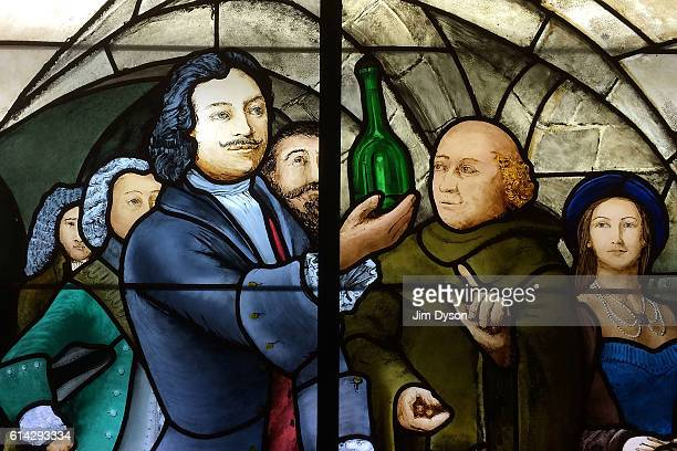A stained glass window depicting French Benedictine monk Dom Perignon at the Moet et Chandon Champagne house on the famous Avenue de Champagne on...