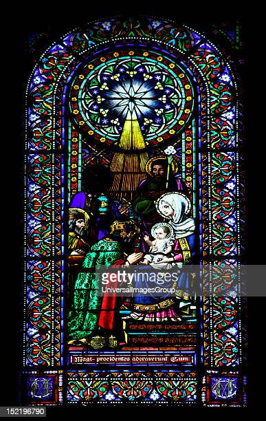 Stained glass window depicting the Epiphany Montserrat Abbey Catalonia Spain