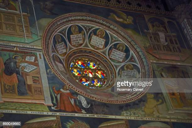 Stained glass window & fresco paintings, Orvieto.