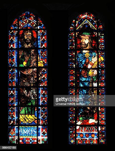Stained glass window from Bourges Cathedral France Shows The prophet's Amos and Nahum 13th century