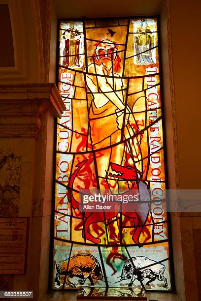 stained glass window illustrating irish poetry - donegall square stock pictures, royalty-free photos & images