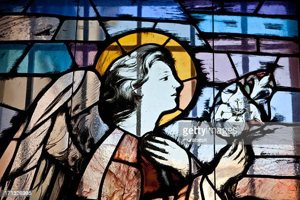 stained glass window in a cathedral - jesus birth stock pictures, royalty-free photos & images