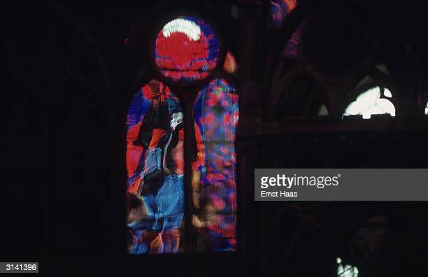 A stained glass window in Canterbury Cathedral Colour Photography book