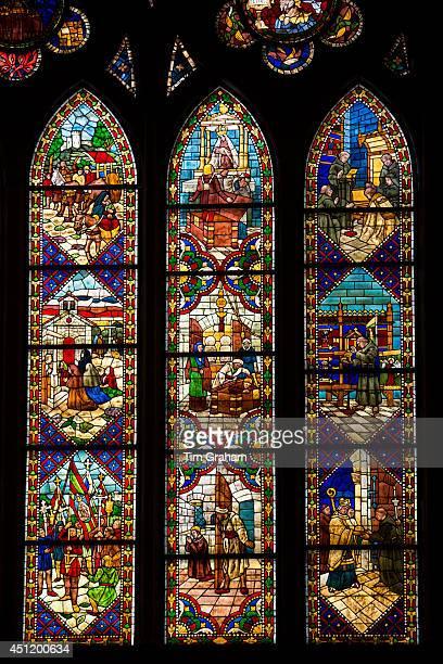 Stained glass window in Cathedral de Santa Maria de Leon in Leon Castilla y Leon Spain