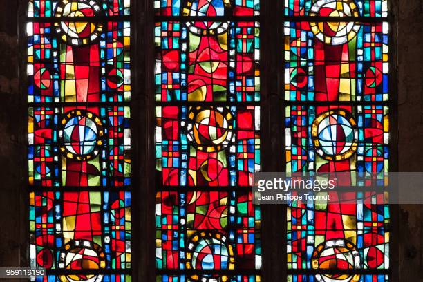 stained glass window in cathedral of saint gatianus in tours, france - stained glass stock photos and pictures