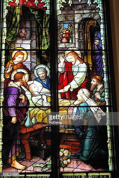 stained glass window in charleston sc church - images of jesus healing stock pictures, royalty-free photos & images