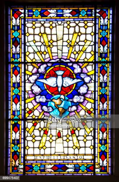 stained glass window in church in costa rica - stained glass stock photos and pictures