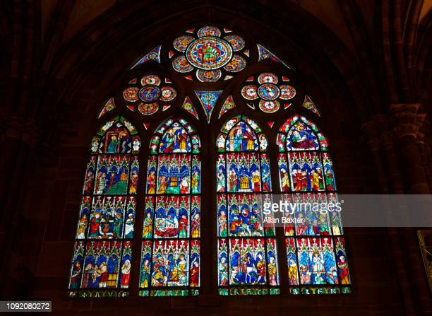 Stained glass window in Strasbourg's Notre Dam Cathedral