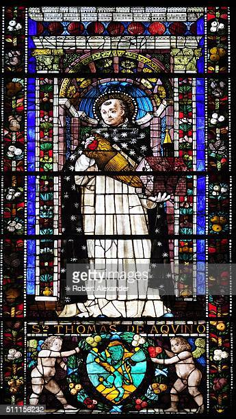 A stained glass window in the Cappella Strozzi di Mantova in Santa Maria Novella church in Florence Italy depicts Saint Thomas Aquinas