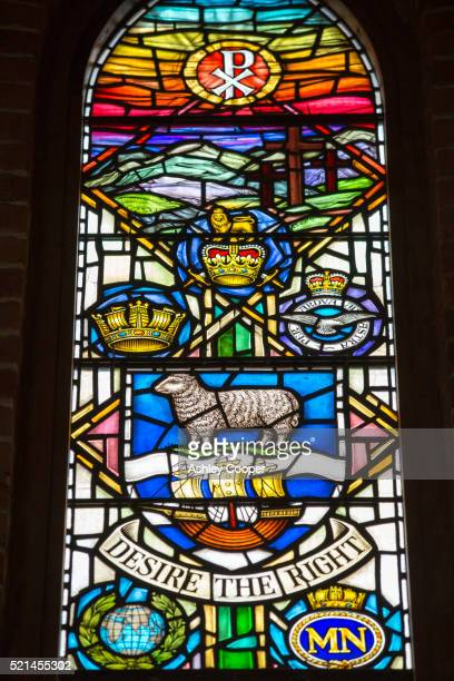 a stained glass window in the cathedral in port stanley in the falkland islands. - falklands war stock pictures, royalty-free photos & images
