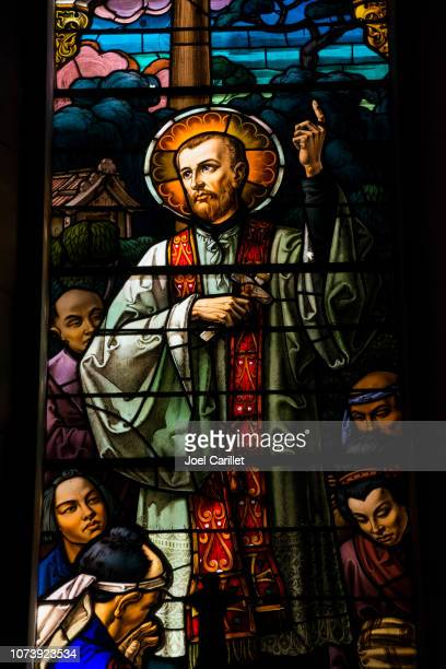 stained glass window inside reina church in havana, cuba - st. francis xavier stock photos and pictures