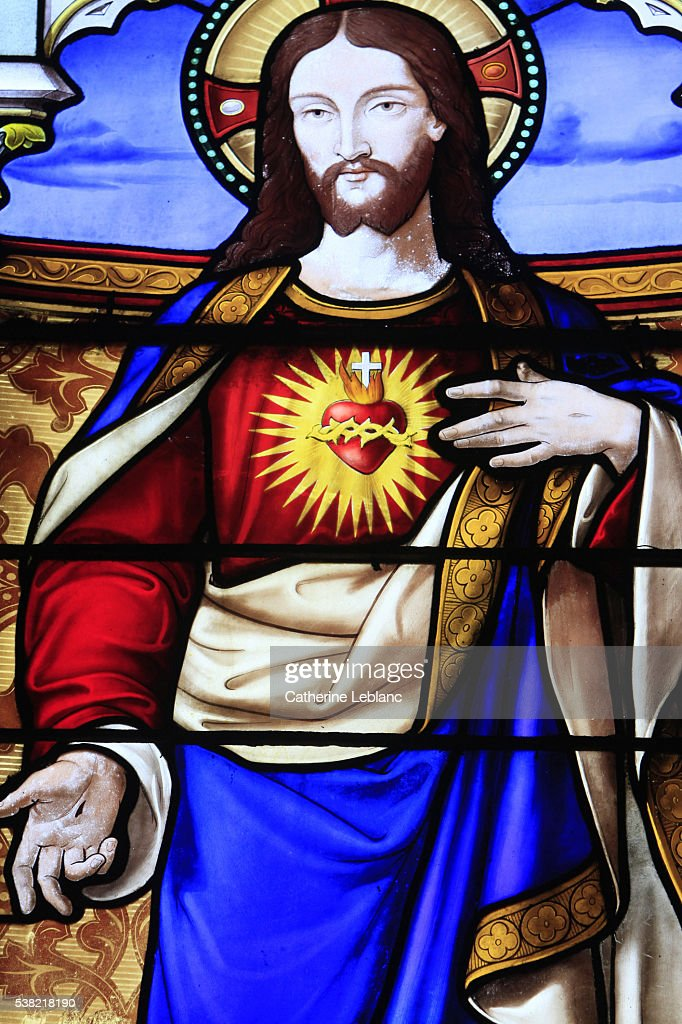 Stained Glass Window Jesus Christ Sacred Heart