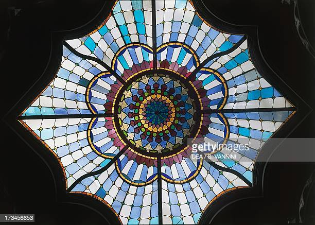 Stained glass window Museum of Applied Arts architect Odon Lechner and Gyula Partos Pest Budapest Hungary